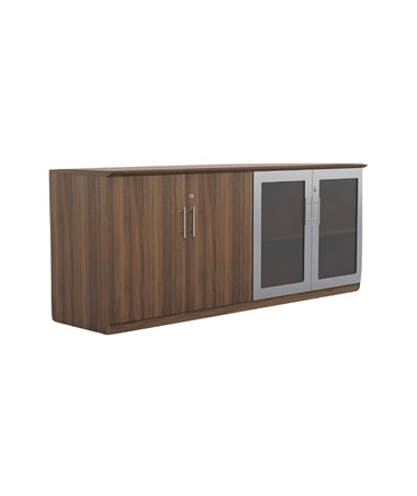 Mayline Medina Low Wall Cabinet with Glass and Wood Doors Textured Brown Sugar MVLCTBS
