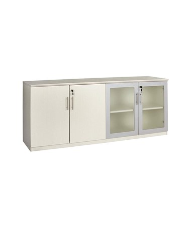 Mayline Medina Low Wall Cabinet with Glass and Wood Doors Textured Sea Salt MVLCTSS