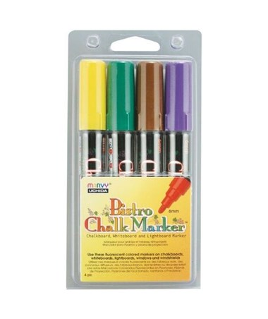 Marvy Bistro Chalkboard and Light Board Marker 4-Color Set D MR480-4D