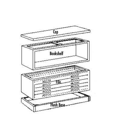 The Mayline Wood Plan File system comes in 3 components (each sold separately: base, drawer unit, and cap.