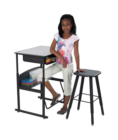 Safco AlphaBetter Adjustable-Height Student Stool with Stand-Up Desk