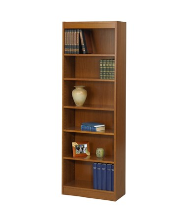 "Safco 12""W 7-Shelf Veneer Baby Bookcase Medium Oak 1512MOC"