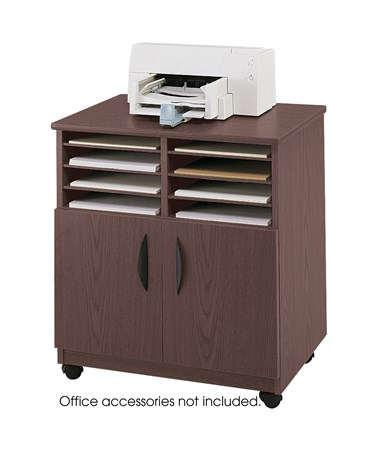 Safco Mobile Machine Stand with Sorter, Mahogany SAF1851MH