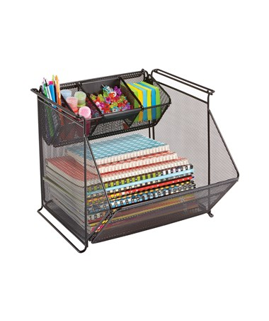 Safco Onyx Stackable Mesh Storage Bin 2164BL