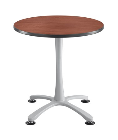 Safco Cha-Cha Sitting-Height X-Base Round Table - Cherry Top and Silver Base