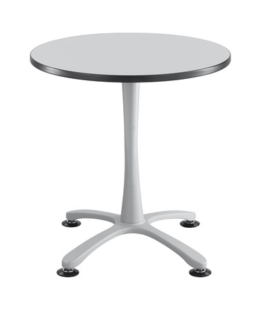 Safco Cha-Cha Sitting-Height X-Base Round Table - Gray Top and Silver Base