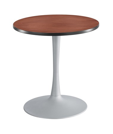 Safco Cha-Cha Sitting-Height Trumpet-Base Round Table - Cherry Top and Silver Base