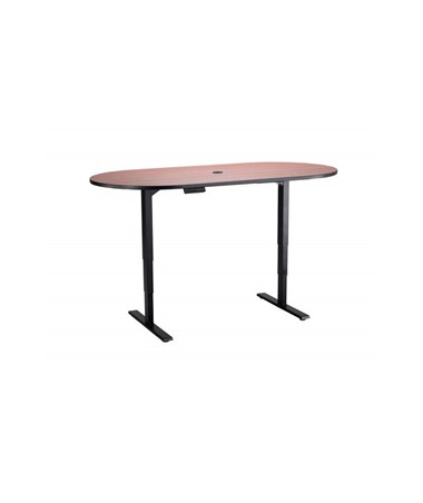 "Safco 72""W x 36""D Electric Height-Adjustable Teaming Table Cherry Top/Black Base 2544CYBL"