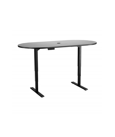"Safco 72""W x 36""D Electric Height-Adjustable Teaming Table Gray Top/Black Base 2544GRBL"