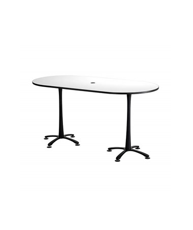"Safco Cha-Cha Bistro-Height Racetrack Conference Table 84""W x 42""D White/Black Base 2553DWBL"