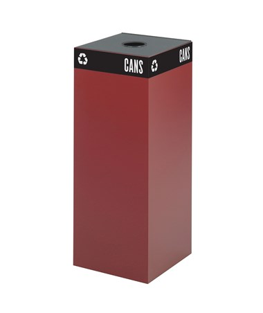 Safco Public Square Waste Receptacle Base 37-Gallon Burgundy