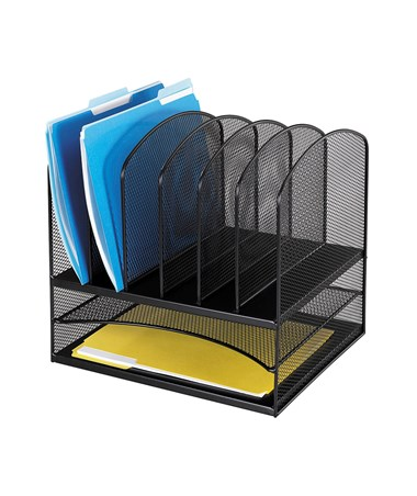 Safco Onyx 2 Horizontal/6 Upright Sections Organizer Black