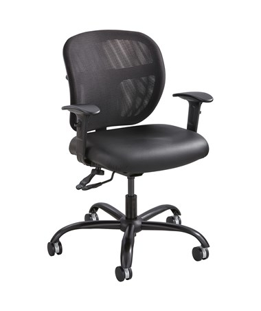 Safco Vue Intensive Use Mesh Task Chair Vinyl 3397BV (Shown with optional armrest.)