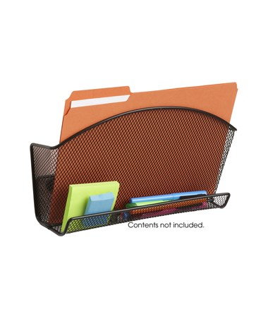 Safco Onyx Magnetic Mesh File Pocket with Accessory Organizer (Qty.6) Black SAF4180BL