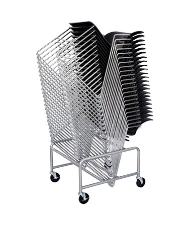 Safco Sled Base Stack Chair Cart with Stacked Chairs