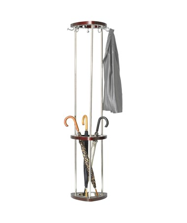 Safco Mode Wood Coat Rack with Umbrella Rack Mahogany 4214MH