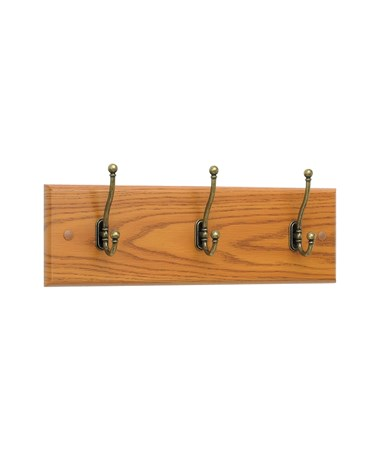 Safco 3-Hook Wood Wall Rack Medium Oak 4216MO