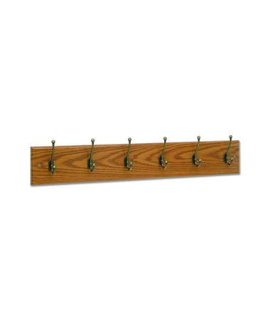 Safco 6-Hook Wood Wall Rack Medium Oak 4217MO