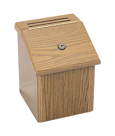SAFCO4230MO-Wood Locking Suggestion Box Medium Oak SAF4230MO