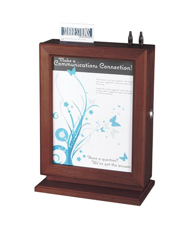 Safco Customizable Wood Suggestion Box Mahogany