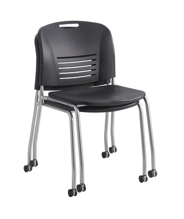 Safco Vy Straight Leg Chair with Casters Stacked