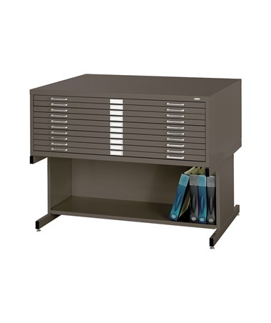 Safco 10-Drawer Steel Flat File with Open Base, Chai Tea 4986CT