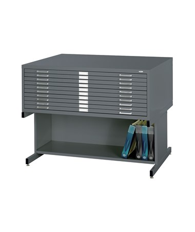 Safco 10-Drawer Steel Flat File with Open Base, Indigo Root 4986IR