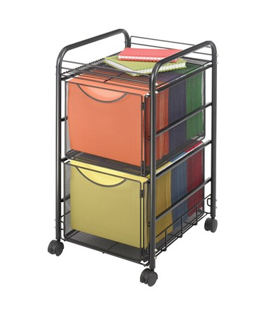 Safco Onyx Mesh File Cart with 2 File Drawers 5212BL