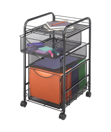 Safco Onyx Mesh File Cart with 1 File Drawer and 2 Small Drawers 5213BL