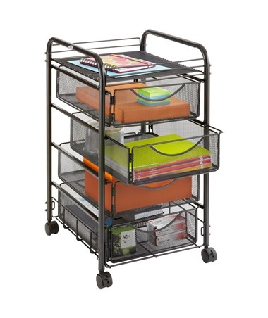 Safco Onyx Mesh File Cart with 4 Drawers 5214BL