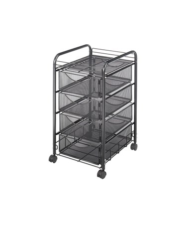 Safco Onyx™ Mesh File Cart with 4 Drawers SAF5214BL