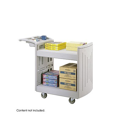 SAFCO5330GR-2-Shelf Molded Utility Cart Gray SAF5330GR