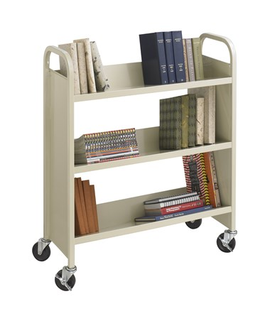 Safco Steel Single-Sided Book Cart - 3 Shelves SAF5358SA