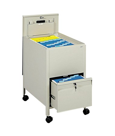 Safco Letter-Size Locking Mobile Tub File with Drawer - Putty 5364PT