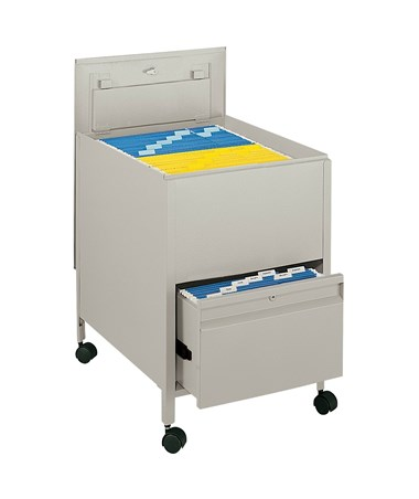 Safco Legal-Size Locking Mobile Tub File with Drawer - Putty 5365PT