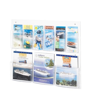 Safco Clear2c 3 Magazine and 6 Pamphlet Display 5666CL