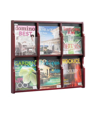Safco Expose 6 Magazine 12 Pamphlet Display, Mahogany SAF5703MH