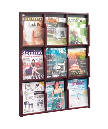 Safco Expose 9 Magazine or 18 Pamphlet Display Mahogany 5702MH