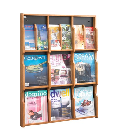 Safco Expose 9 Magazine or 18 Pamphlet Display Medium Oak 5702MO