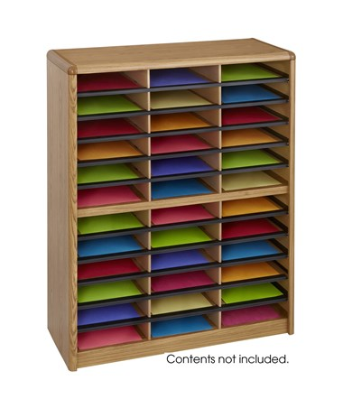Safco Value Sorter Literature Organizer, 36 Compartment Medium Oak SAF7121MO