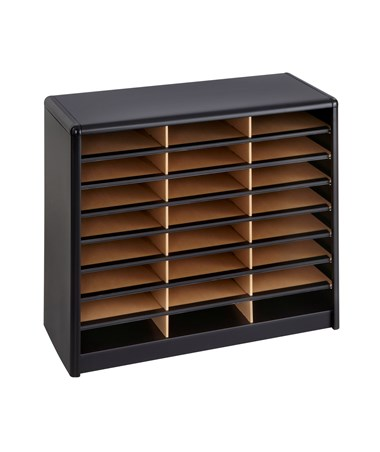 Safco Value Sorter 24-Compartment Wood Literature Organizer Black 7111BL