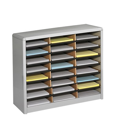 Safco Value Sorter 24-Compartment Wood Literature Organizer Gray 7111GR