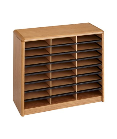 Safco Value Sorter 24-Compartment Wood Literature Organizer Medium Oak 7111MO
