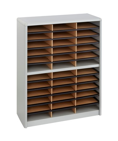 Safco Value Sorter 36-Compartment Wood Literature Organizer Gray 7121GR