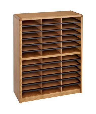 Safco Value Sorter 36-Compartment Wood Literature Organizer Medium Oak 7121MO