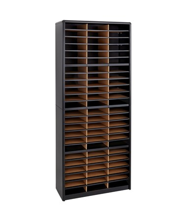 Safco Value Sorter 72-Compartment Wood Literature Organizer Black 7131BL