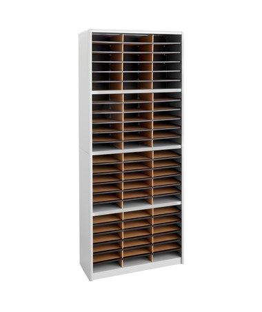 Safco Value Sorter 72-Compartment Wood Literature Organizer Gray 7131GR