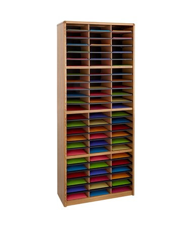 Safco Value Sorter 72-Compartment Wood Literature Organizer Medium Oak 7131MO