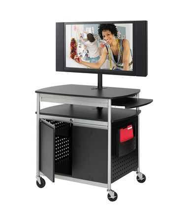 Safco Scoot Flat Panel Multimedia Cart with Locking Cabinet 8941BL