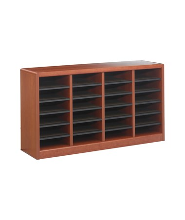 Safco E-Z Stor 24-Compartment Wood Literature Organizer Cherry 9311CY